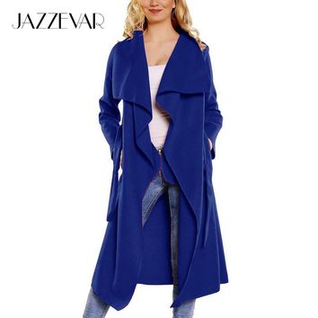 JAZZEVAR 2017 New Spring Autumn Fashion Casual Wool Blend Trench Coat for women Long Outerwear loose clothing for lady