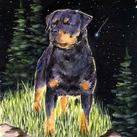 Starry Night Rottweiler Flag Garden Size