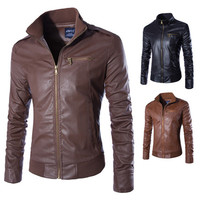 Men's Fashion Slim Fit Faux Leather Jacket