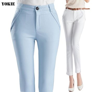 High waist elegant  woman office pants trousers work Capris ladies OL formal pencil skinny pants classic for women Plus size