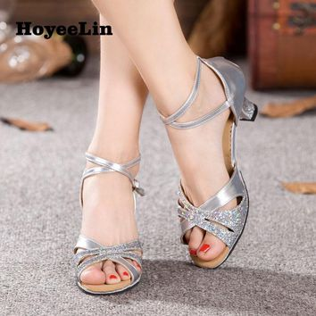 HoYeeLin Latin Dance Shoes Women Ballroom Tango Salsa Dancing Heels Sandals Latin Woman Dance Shoes Shoes For Dance