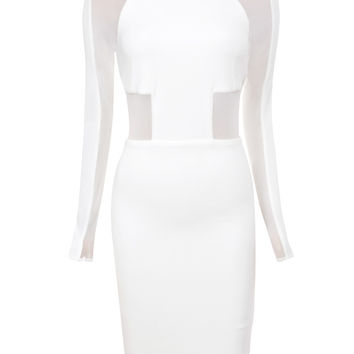 Clothing : Bodycon Dresses : 'Talitha' White Stretch Crepe and Mesh Knee Length Dress