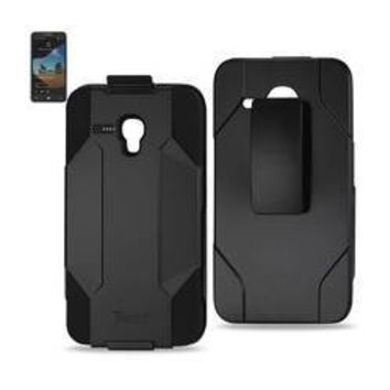 REIKO ALCATEL ONE TOUCH FIERCE XL HYBRID HEAVY DUTY HOLSTER COMBO CASE IN BLACK