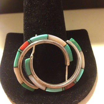 Navajo Turquoise Coral Hoops Inlay Earrings MOP Pearl Malachite Green Red Blue Pink Sterling Silver 925 Vintage Tribal Jewelry Southwestern