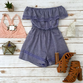 Off the Shoulder Denim Romp