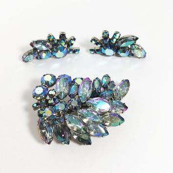 Blue Rhinestone Brooch Earrings Vintage 1950s 1960s Jewelry Set Aurora Borealis Silver Tone Pin Clip Ons Gift for Her Unsigned Weiss Wedding