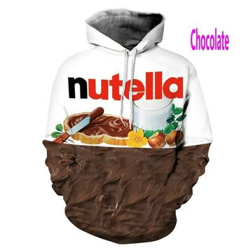 Hoodies Sweatshirt Funny 3D Nutella Print Plus Size S-5XL