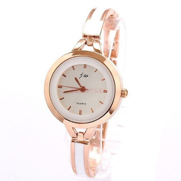 New Women Ladies Band Dress Watches Rose Gold White Thin Bracelet Rhinestone Wrist Watch SV003392_W_26601 Wristwatch (Color: Golden) = 1745502788