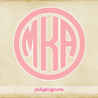 "4"" Circle Monogram With Border Decal"