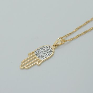 Hamsa Hand Necklaces for Women,Light Gold Color Hamesh Hand Jewelry Hand of Fatima Pendant