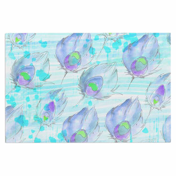 "Danii Pollehn ""Featherdream"" Purple Illustration Decorative Door Mat"