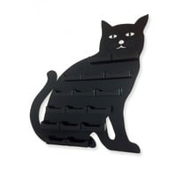 16 Pocket Business Card Holder Black CAT Acrilyc Horizontal Wall Mount