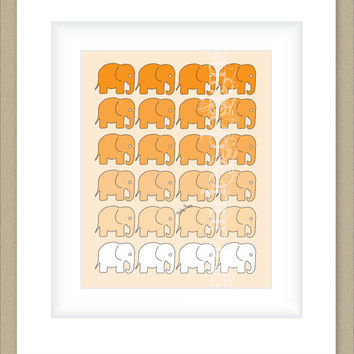 8x10 Ombre Orange Elephant Print, Gradient Graphic Print with Optional Name, Custom Nursery Print or Children's Print