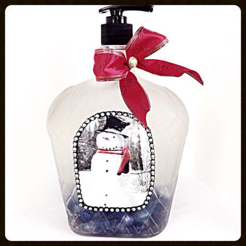 Christmas Snowman Soap Dispenser in Glass Crown Royal Bottle