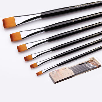 Bgln 6pcs/Set Painting Brush Nylon Oil Paint Water Color Painting Brush Flat Paint Brush Acrylics Art for Supplies Stationery