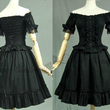 J619 BLACK LOLITA DRESS COSPLAY COTTON SHORT SLEEVES GOTHIC GOTH HALLOWEEN