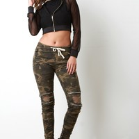 Drawstring Waist Edgy Distressed Moto Jeans