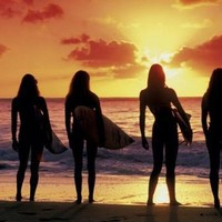 Surfer Babes, Sports Poster Print, 24 by 36-Inch