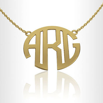 Monogram Necklace, Personalized jewelry Gold 14K 1.0 inch Gold Monogram gift for her, gifts for bridesmaids