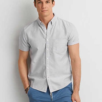 AEO Solid Short Sleeve Shirt , Light Blue