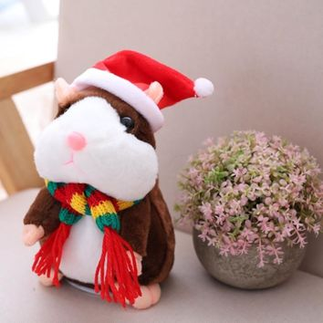 2018 Hot Sale Christmas style 16cm Kawaii Russian Talking Hamster Stuffed Toy Sound Record Plush Hamster Valentine Gift for kids