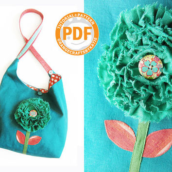 Hobo bag / PDF / linen fabric / sewing tutorial and patterns