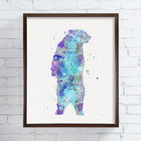Blue Bear, Bear Art, Bear Print, Bear Poster, Bear Illustration, Watercolor Bear, Bear Painting, Nursery Wall Decor, Boys Room Decor