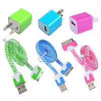 6pcs/Lot! 3PCS USB Data Cable Cord 3PCS Power Adapter ChargerIphone 4/4s
