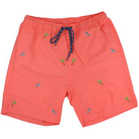 Sandbar Swimsuit in Coral with Embroidered Seaplane and Palm by Castaway Clothing
