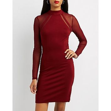 Mesh Inset Bodycon Dress | Charlotte Russe
