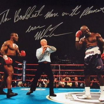 DCCKJNG Mike Tyson Signed Autographed 'The Baddest Man On The Planet' Glossy 16x20 Photo Holyfield Ear Bite (ASI COA)