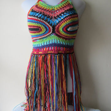 crochet Fringe festival halter top, ELONGATED FRINGE ,gypsy clothing, Hippie top, bohemian, colorful, rainbow crochet top