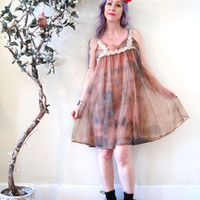 vintage hand dyed tie dyed babydoll sheer overlay lace slip dress / earth tones moss brown / boho hippie festival goddess