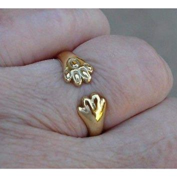 Cat or Dog Lover Paw Print Ring - 18K Yellow Gold