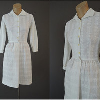 60s Embroidered White Cotton Shirtwaist Dress, Vintage 1960s L'Aiglon, XS 32 inch bust