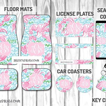 Lilly Pulitzer Lobstah Roll Car Mat /Plate & Frame / Seat belt cover / Key Chain / Car Coaster / Car Accessory Gift  Set
