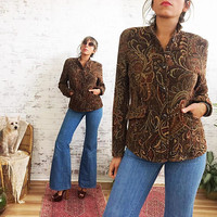 Vintage Paisley TAPESTRY Indian Boho Carpet Blazer Jacket || Size Small Medium