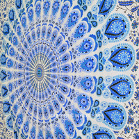 Multi Blue White Boho Style Mandala Tapestry, Indian Hippie Bedding on RoyalFurnish.com