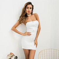Solid Color Simple Fashion Zip Off Shoulder Sleeveless Strapless Package hip Mini Dress