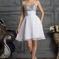 Sheer Mesh Sleeveless Shimmering Beads Empire Waist Homecoming Dress