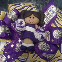 Vikings Cheerleader Girl Stacked Bow CUSTOM by CiaraCompanyBowtique