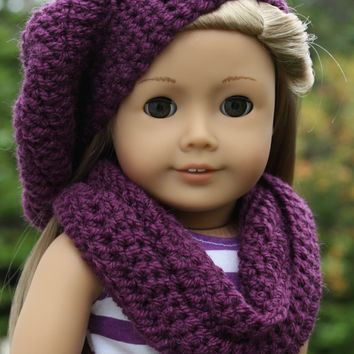 beret style crochet slouch hat with infinity scarf, purple,   18 inch doll clothes American girl Maplelea
