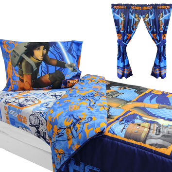 Star Wars Bedding and Curtains Rebels Fight Comforter Sheets and Window Panels with Tie-Backs: Full