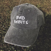bad habits hat twill cap hat dad hat mom hat baseball style hat