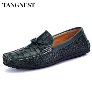 Tangnest Brand Men Split Leather Loafers Man Casual Moccasin Driving Shoes Fashion Square Toe Plaid Flats 2017 Men Shoes XMR2449