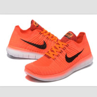 Nike free RN flynit running sneakers Sport Casual Shoes Sneakers Orange-grey black hook B-CSXY