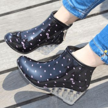 Fashion Printed Ankle Rain Boots