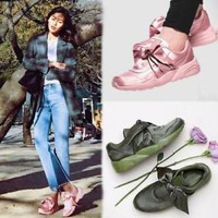 Womens Bow Lace Up Flat Running Shoes Casual Athletic Sneakers Round Toe chic Sz