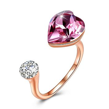 Pink Sapphire Heart Shaped Adjustable Ring 925 Sterling Silver Unique Casual Rings