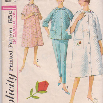 60s vintage pattern for bathrobe,  pajamas,  button front nightgown misses size 12 bust 32 Simplicity 5205 CUT and COMPLETE